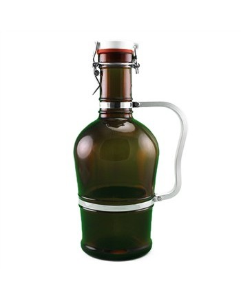 Swing Top Amber Glass Growler w/ Metal Handle - 2 L