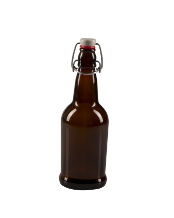 500 mL (16 oz) Swing Top Bottle (Amber) Case of 12  ***SHIP AT OWN RISK***