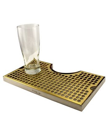 "12""x7""x3/4"" Premium Vibrant Gold Stainless Steel Surface Cut-Out Drip Tray"