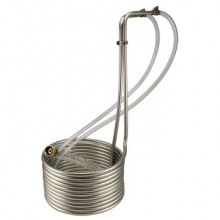 "Horned Viper Stainless Steel Immersion Wort Chiller - 25' x 3/8"" with Vinyl Tubing"