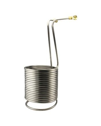 "Spotted Python Stainless Steel Immersion Wort Chiller - 50' x 1/2"" with Vinyl Tubing"